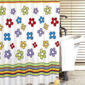 SHOWER CURTAIN No 1484 FLOWERS & STRIPES 1,80X1,80