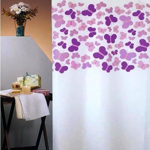 SHOWER CURTAIN No 1786 BUTTERFLIES PURPLE 1,80X1,80