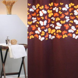 SHOWER CURTAIN No 1786 BUTTERFLIES BROWN 1,80X1,80