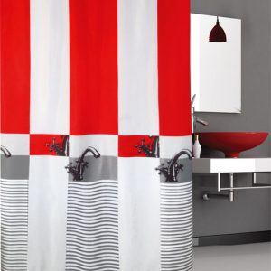 SHOWER CURTAIN No 3021 FAUSET RED 1,80X1,80