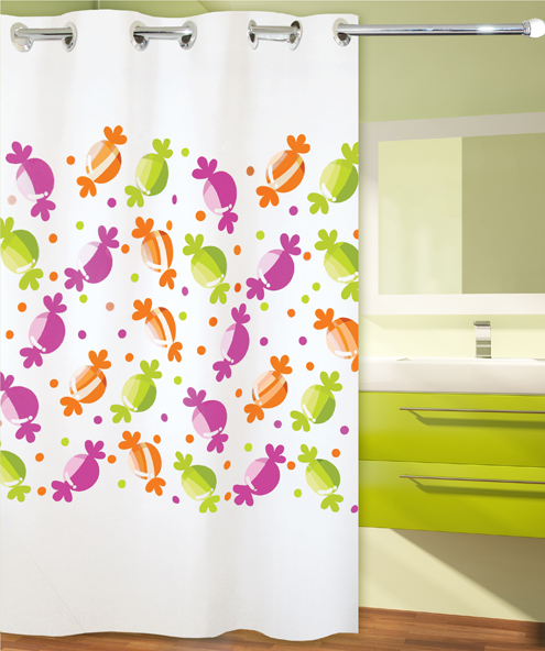SHOWER CURTAIN HOOKLESS No 1960 CANDIES