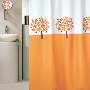 SHOWER CURTAIN HOOKLESS No 1957 TREE ORANGE 1,80X1,80