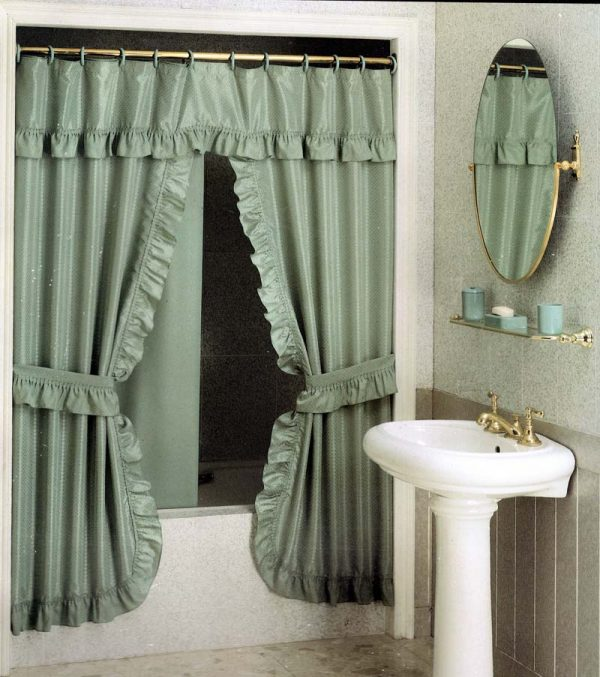 DOUBLE SWAG SHOWER CURTAIN 220X180 GREEN
