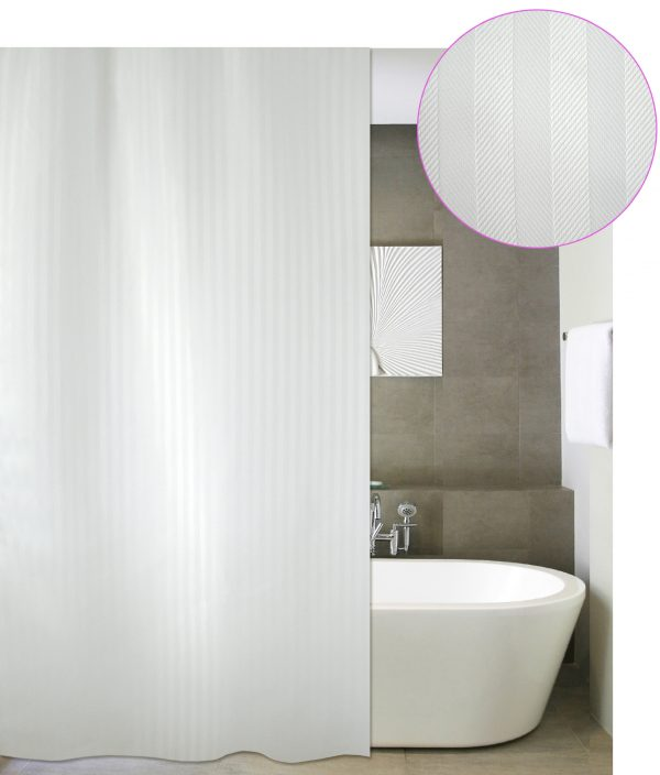 SHOWER CURTAIN SOLID LUXOR WHITE 180 WIDTH X 220 HEIGHT