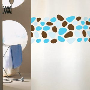 SHOWER CURTAIN No1948 PEBBLES BROWN-TURQUASSE 2,40 Χ 2,00