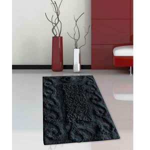 BATH-MAT BM-82 COTTON SPIRAL BLACK 45Χ70