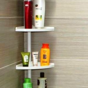Self-supporting telescopic white bathroom rack