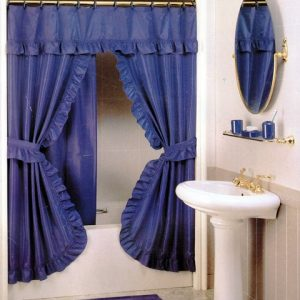 DOUBLE SWAG SHOWER CURTAIN 2,20X1,80 BLUE