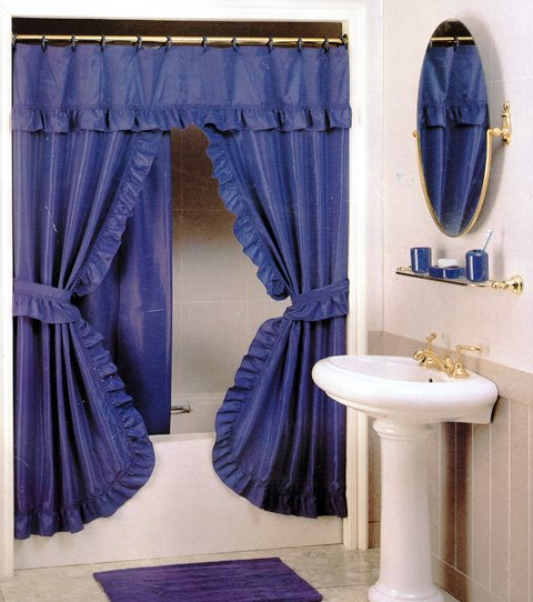 DOUBLE SWAG SHOWER CURTAIN 180X180 BLUE