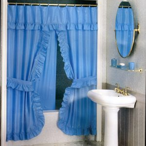 DOUBLE SWAG SHOWER CURTAIN 2,20X1,80 LIGHT BLUE