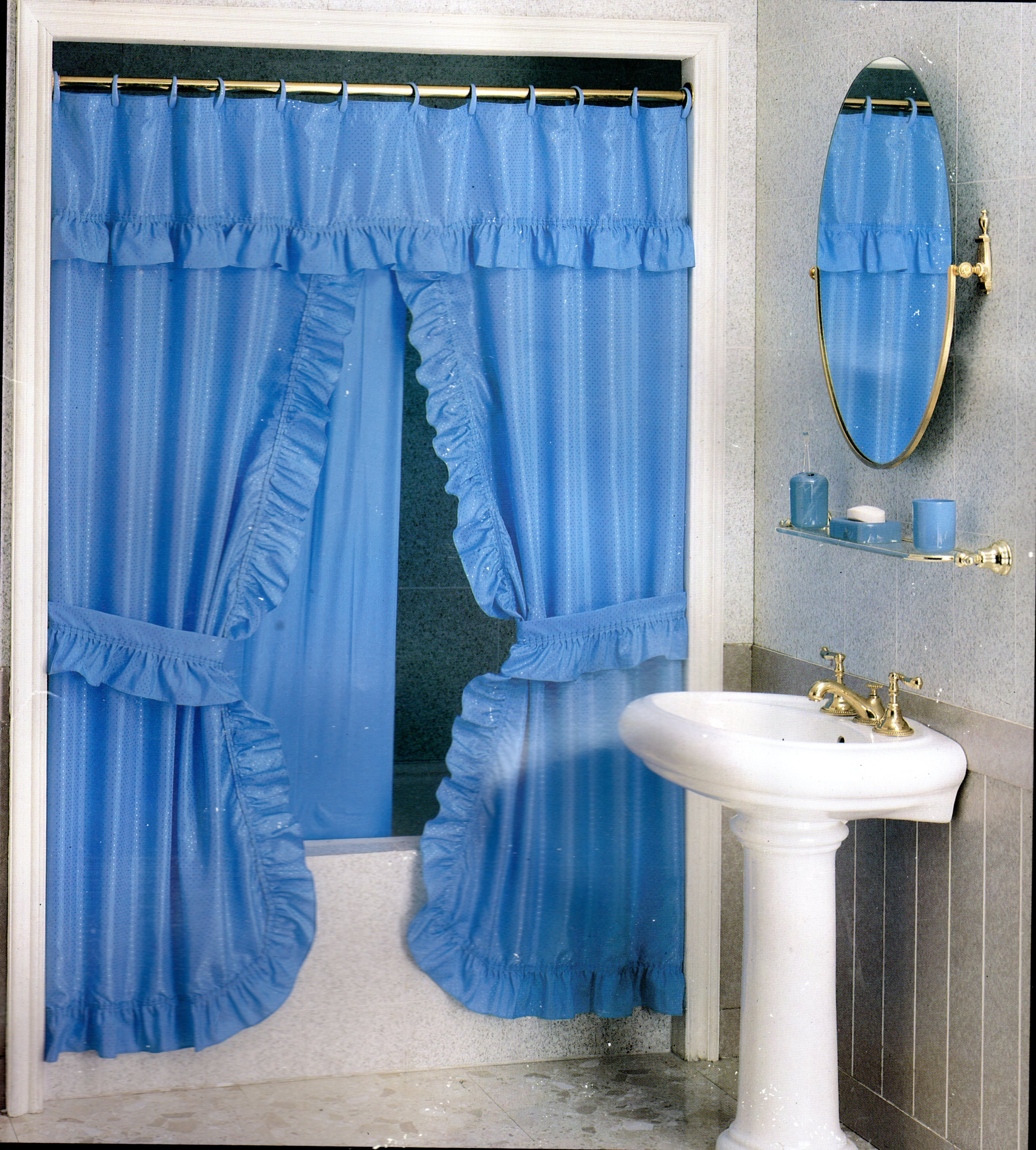 DOUBLE SWAG SHOWER CURTAIN 180X180 LIGHT BLUE