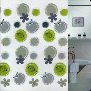 SHOWER CURTAIN  GREEN BUTTERFLIES 1,80X2,00