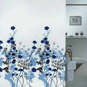 SHOWER CURTAIN  FLOWERS BLUE 1,80X2,00