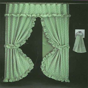 DOUBLE SWAG SHOWER CURTAIN 1,80X1,80 GREEN