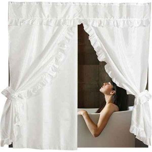 DOUBLE SWAG SHOWER CURTAIN 1,80X1,80 WHITE